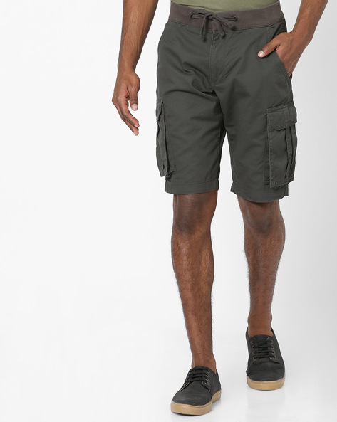 Cargo Shorts With Drawstring Waist By DNMX ( Medgrey )