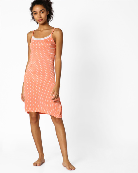 Printed Strappy Lounge Dress By Strings ( Rust )