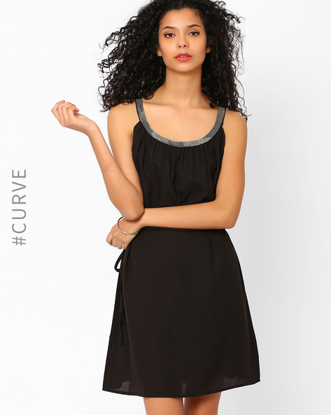 Dress With Embellished Neckline By AJIO ( Black )