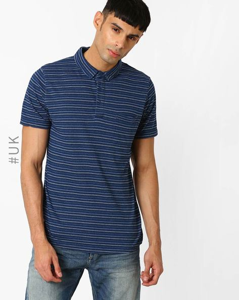 Striped Polo T-shirt With Patch Pocket By Native Youth ( Indigo )