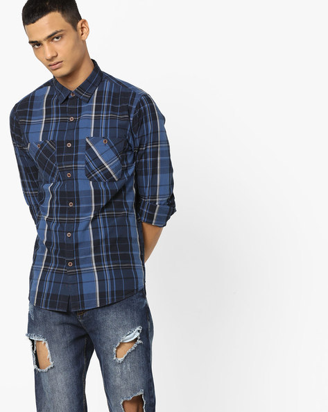 Checked Shirt With Twin Pockets By AJIO ( Blue )