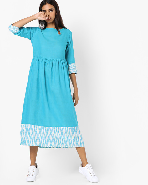 A-line Dress With Printed Hems By AJIO ( Teal )