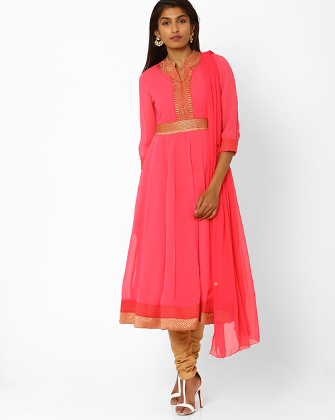 Embroidered Churidar Kurta With Dupatta By AJIO ( Pink )