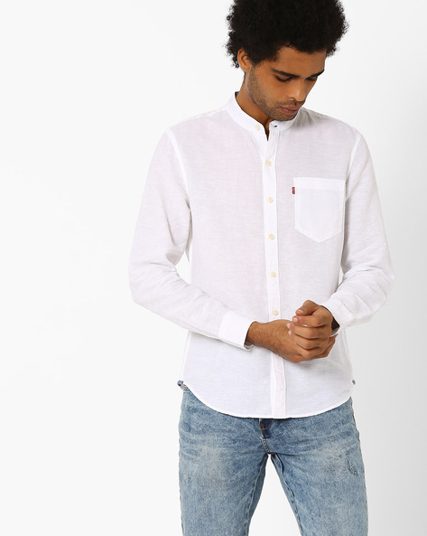 Cotton Shirt With Mandarin Collar By LEVIS ( White )