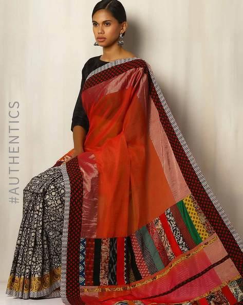 Half & Half Kalamkari Handblock Print Chanderi Designer Saree By Addoz ( Rust )