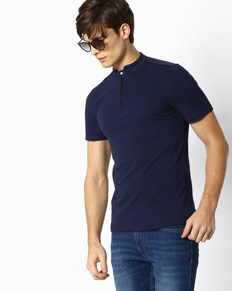 Panelled T-shirt With Band Collar By Celio ( Blue )