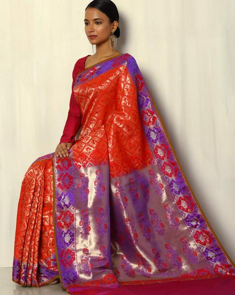Patola Style Brocade South Silk Saree By Pretty Woman ( Red )