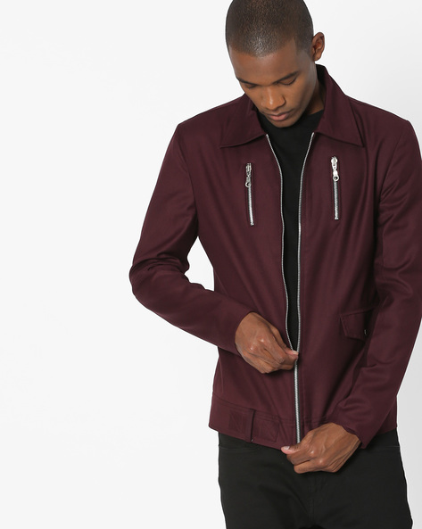 Slim Fit Jacket With Front Zipper By MR.BUTTON ( Wine )