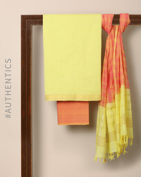Handloom Mangalgiri Cotton 3-Piece Dress Material By Indie Picks ( Orange )