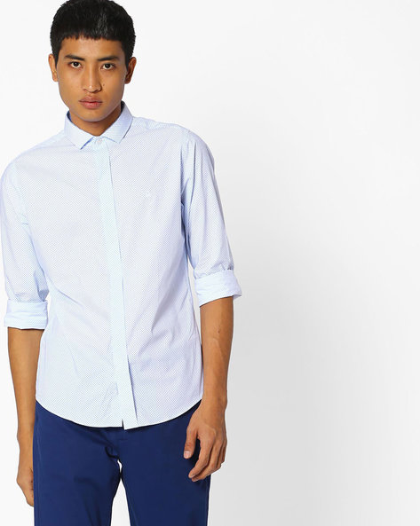Geometric Print Slim Fit Shirt By UNITED COLORS OF BENETTON ( White )
