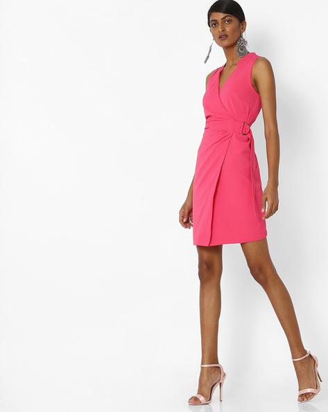 Sleeveless Wrap Dress By Femella ( Pink )