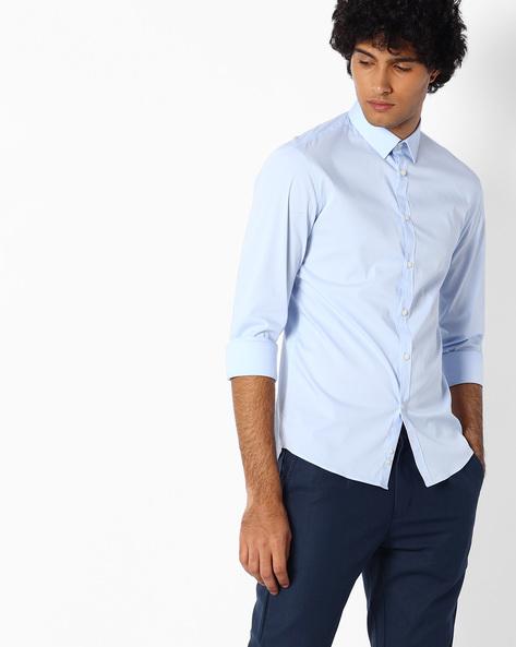 Cotton Shirt With Spread Collar By Celio ( Lightblue )