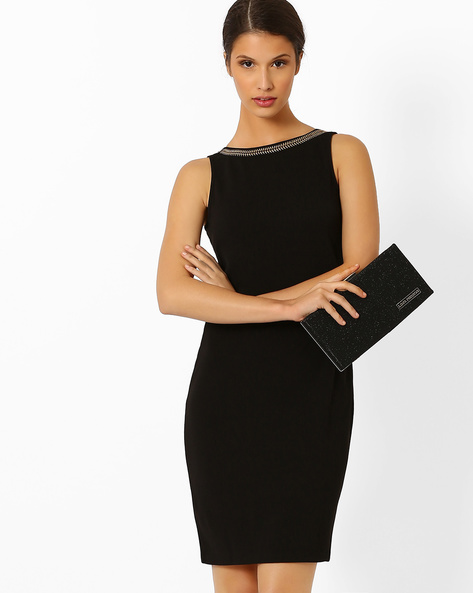 Sheath Dress With Embellished Neckline By AJIO ( Black )