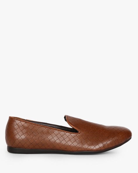 Low-Top Textured Loafers By ESCARO ( Brown )
