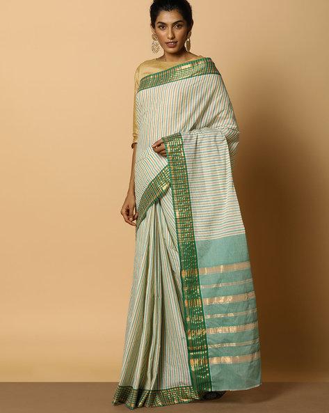 Kanchi Cotton Striped Saree With Zari Border By Indie Picks ( Multi )