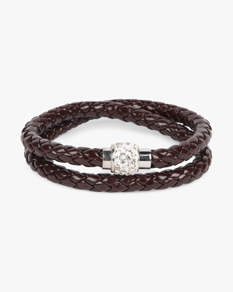 Braided Bracelet With Stone Embellishments By ALPHA MAN ( Brown )