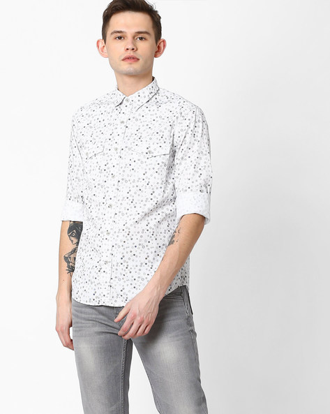 Polka-Dot Print Slim Fit Shirt By AJIO ( White )