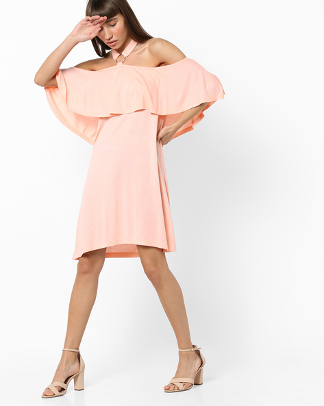 Off-Shoulder Dress With Ruffle Panel By AJIO ( Peach )