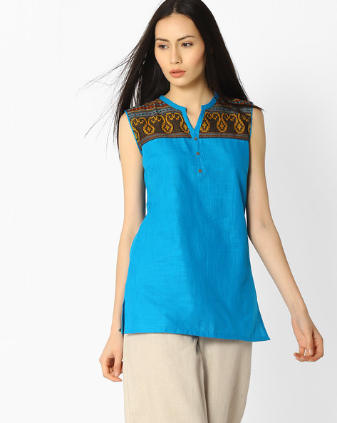 Sleeveless Kurti With Woven Design By AURELIA ( Black )