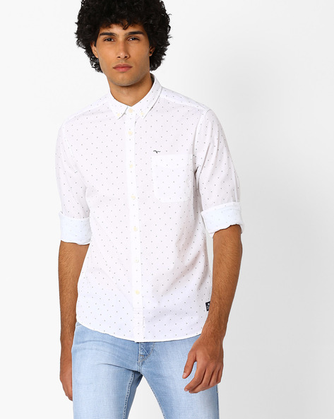 Printed Shirt With Button-Down Collar By FLYING MACHINE ( White )