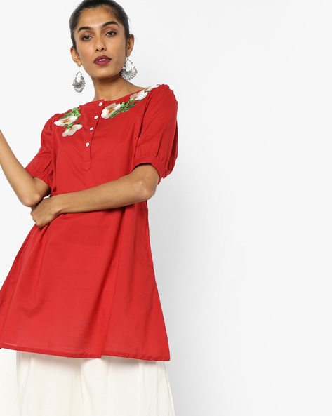 Tunic With Floral Embroidery By AJIO ( Red )