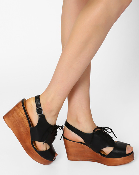Peep-Toe Lace-Up Wedges By AJIO ( Black )