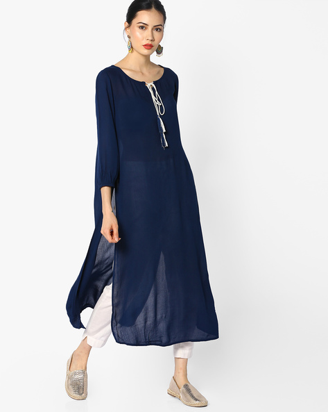 Straight Kurta With Tie-Up By Melange By Lifestyle ( Navy )