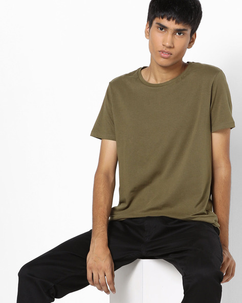 Crew-Neck T-shirt With Short Sleeves By AJIO ( Olive )