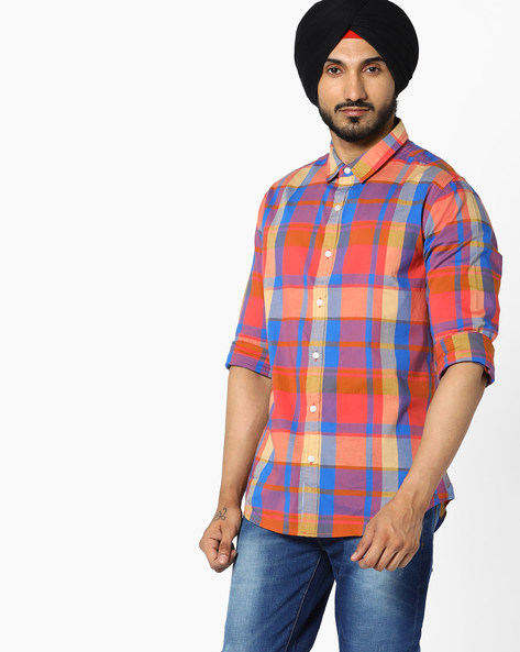 Checked Shirt With Spread Collar By UNITED COLORS OF BENETTON ( Blue )