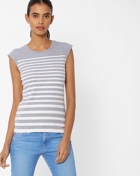 Striped T-shirt With Cap Sleeves By KRAUS ( Greymelange )