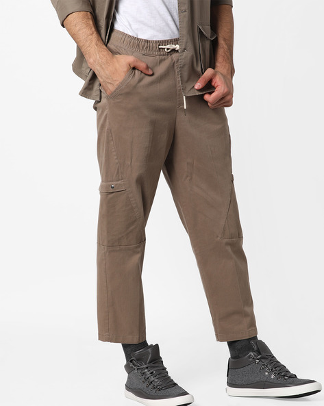Trousers With Drawstring Fastening By AJIO ( Olive )