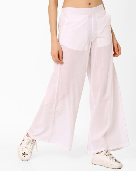 Mid-Rise Palazzos With Semi-Elasticated Waistband By AJIO ( Offwhite )