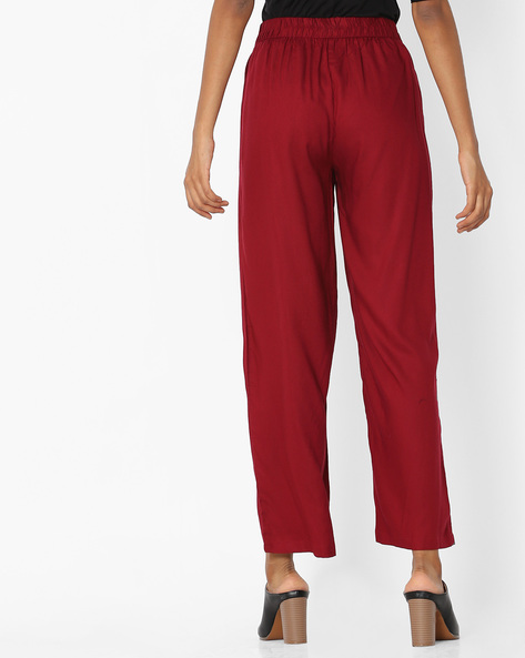 Palazzos With Elasticated Waist By OVI ( Maroon )