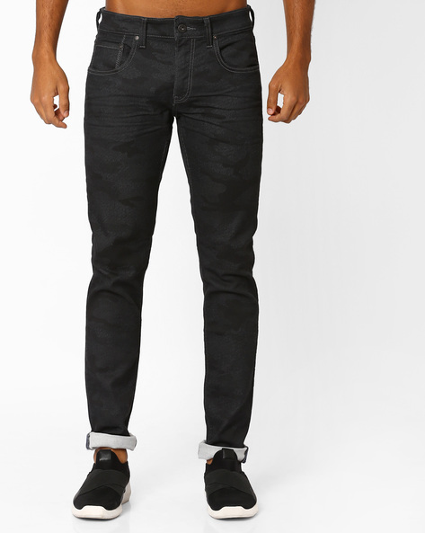 Camouflage Slim Fit Jeans By Jack & Jones ( Black )