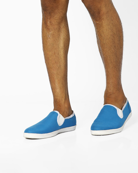 Canvas Low-Cut Casual Slip-Ons By AJIO ( Blue )
