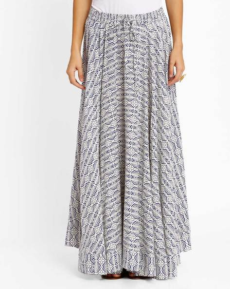 Printed Maxi Skirt By AJIO ( Blue )