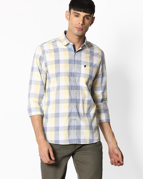 Checked Shirt With Patch Pocket By NETPLAY ( Yellow )
