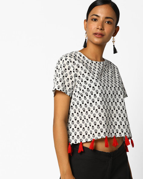 Printed Top With Tassels By AJIO ( White )