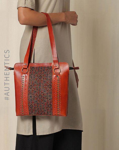 Kutch Cutwork Ajrak Leather Handbag By Indie Picks ( Brown )