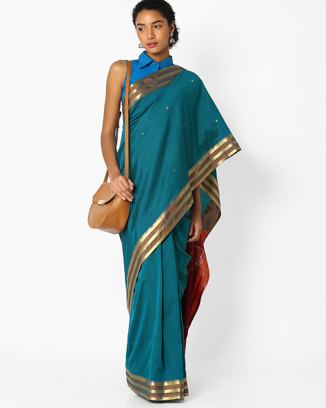 Art Silk Saree With Zari Work By Amori ( Green )