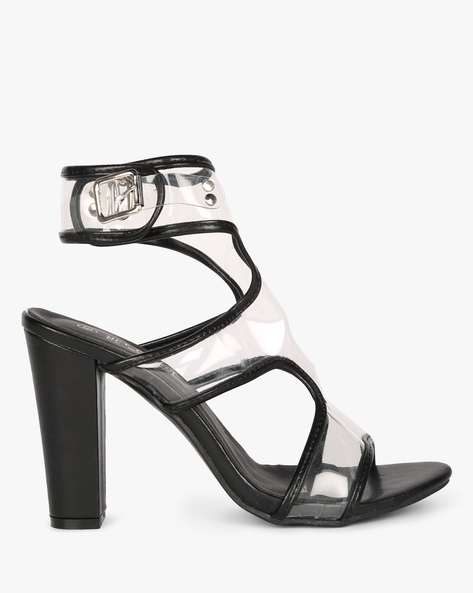 High Ankle Heeled Sandals By MFT Couture ( Black )