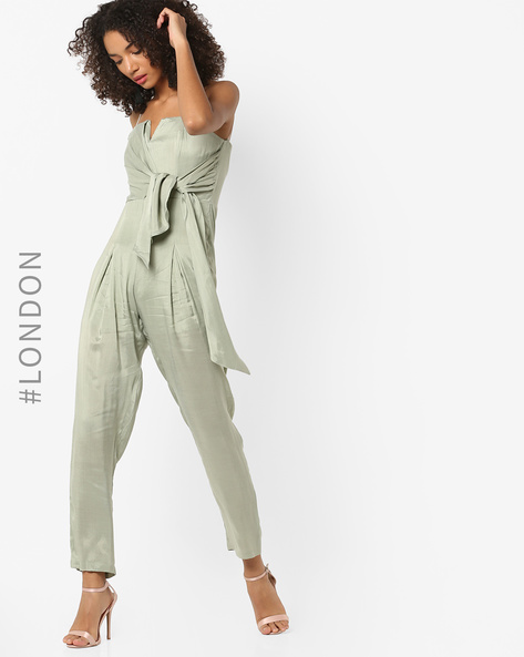 Pleated-Front Jumpsuit With Tie-Up By Glamorous ( Green )