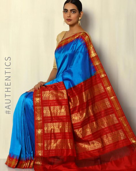 Pure Silk Bangalore Saree With Kadiyal Temple Border By Pretty Woman ( Royalblue )