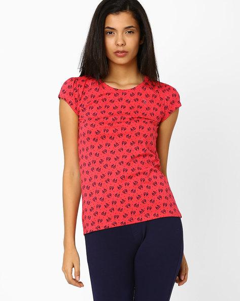 Printed T-shirt By Honey By Pantaloons ( Coral )