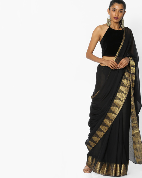 Chiffon Saree With Floral Border By CHHABRA 555 ( Black )