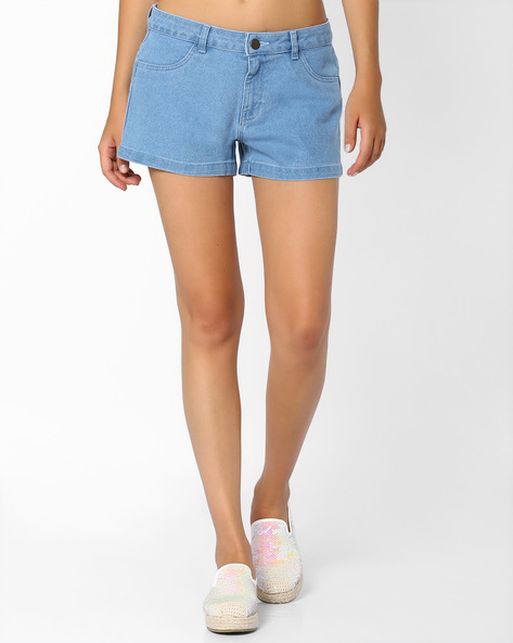 Mid-Rise Denim Shorts By Ginger By Lifestyle ( Lightblue )