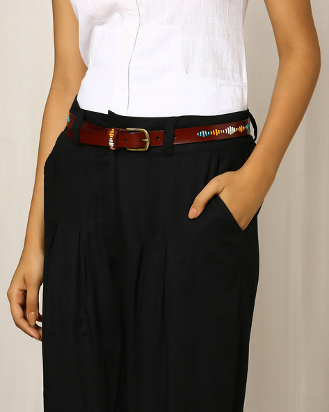 Faux Leather Belt With Embroidery By Indie Picks ( Brown )