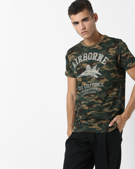 Camouflage Print Cotton T-shirt By DIFFERENCE OF OPINION ( Khaki ) - 460136979003
