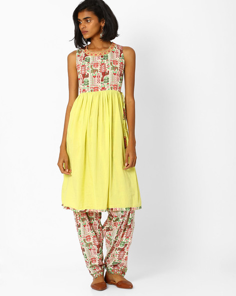 Flared Kurta With Side Tie-Ups By AJIO ( Limegreen )