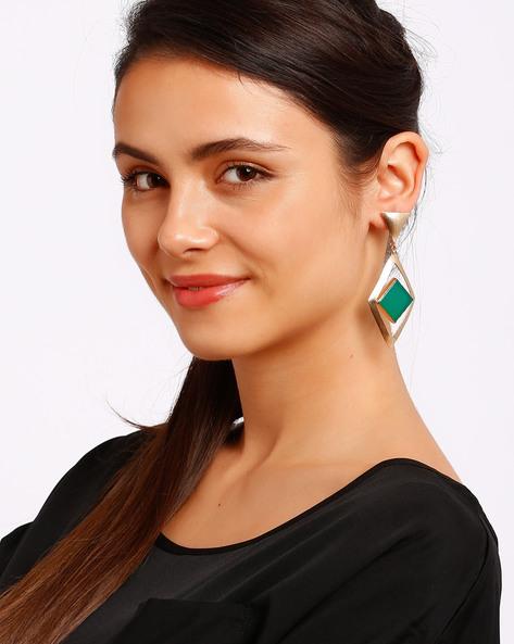 Diamond-Shaped Drop Earrings With Stone By Ssoul ( Darkgreen )